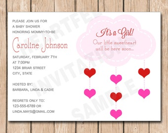 Sweetheart Baby Shower Invitation | Valentine, Hearts - 1.00 each printed