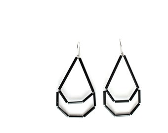 Black Drop Earrings- Glass Minimal earrings-  Contemporary Geometric earrings