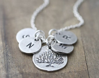 Mother's Family Tree Necklace, Personalized Gift Womens Jewelry for Mom, Mother Initial Necklaces for Women, Custom Hand Stamped Jewelry