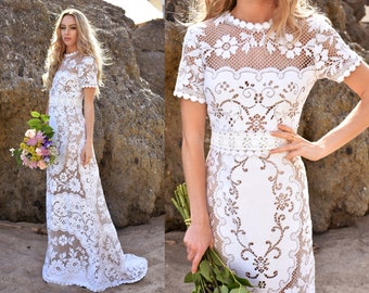 French Vintage Lace Short Sleeve Scallop Mermaid Boho WEDDING Dress Gown Bohemian Boho Victorian Saldana Vintage OOAK Anna Marie Dress