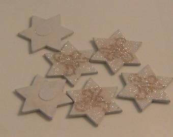 Star spangle white wooden 35mm x 6 (l346)
