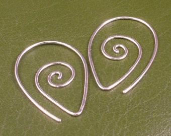 Sterling Silver Earrings / Swirling Silver Hoops / Argentium Swirl Spiral Tear Drop Hammered Tribal Twist Earring Unique Fun