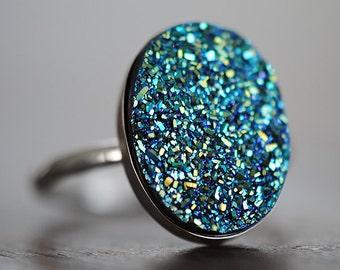 Druzy Ring, Blue Druzy, Green Oval Drusy, Sterling Silver, Drussy, Drusy, Statement Ring, Handcrafted, Round, Iridescent, Quartz.