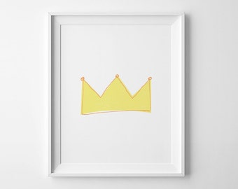 Minimalist poster, nursery decor, printable wall art, yellow crown print, Scandinavian art, gift for kids, affiche scandinave, mini learners