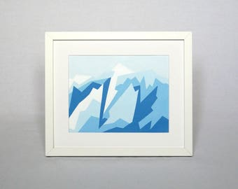 """Geometric mountain landscape painting of Mount Logan Canada Acrylic on paper 7x9"""" Winter wall art Original mountain painting Clearance sale"""