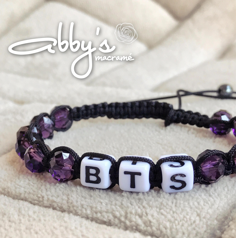 BTS gewebt Armband schwarz und violett