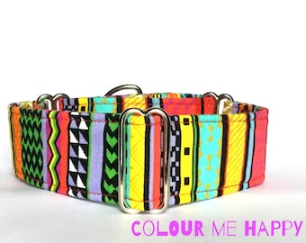 Red and Green Aztec / Tribal Design Martingale Dog  Collar , Greyhound Collar , Whippet Collar , Lurcher Collar , Sighthound Collar