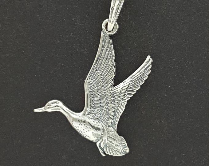 Flying Duck Pendant in Sterling Silver