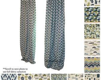 Kids Curtains- Drapery Panels- Felix Blue Curtains- Childrens Room Decor- Valance- Boys Curtain- Nursery Curtains- Custom Blue Drapes