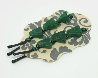 Cute Decorative Hair Pins with Wire Wrapped Aventurine Triangles