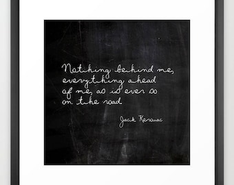 Literary Art, Jack Kerouac, On the Road, Quote Print or Quote Canvas, Square, Large Wall Art, Literary Gifts, Mens Gifts, Gifts for Her