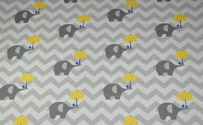 Gray elephant fabric cotton baby gray chevron nursery fabric cotton ...