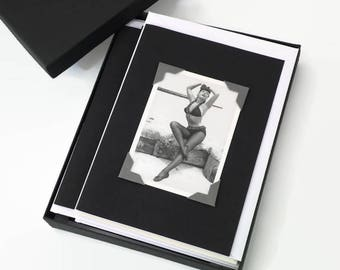 Bettie Page Sexy Art Cards, Black Note Cards, Retro Cards, Greeting Card Set, Boxed Blank Note Cards, Assorted Card Set, Handmade Cards