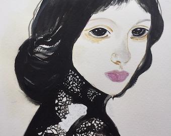 Original Acrylic Painting, Original Watercolor Painting, Mixed Media Painting, Woman Face Painting, Collectibles, Housewarming Gift