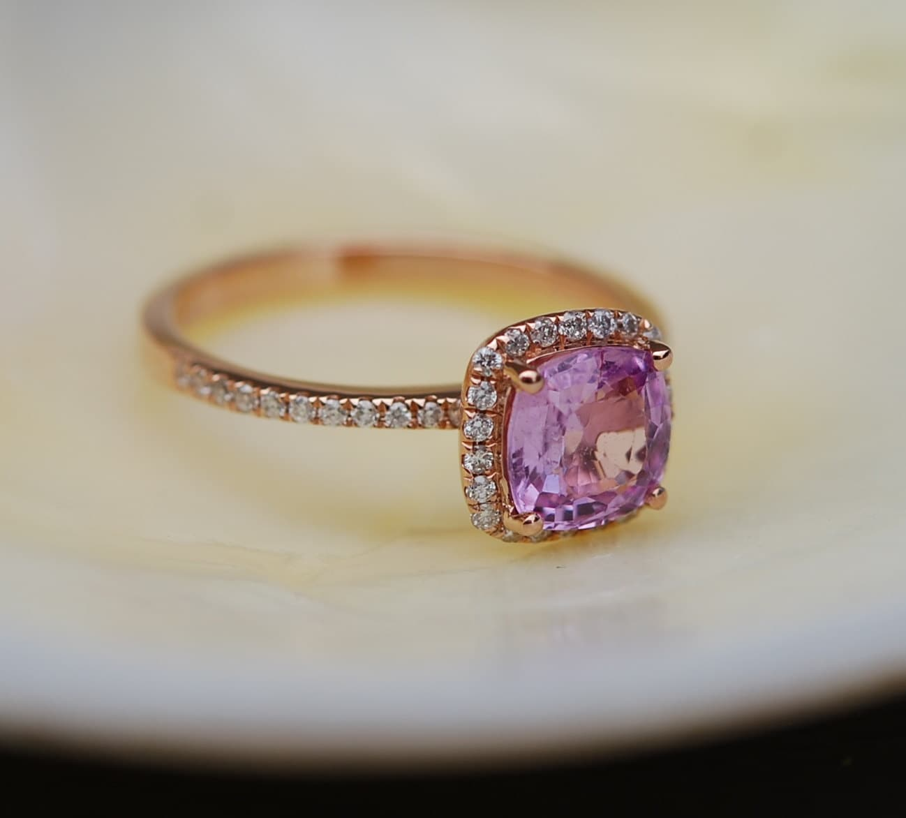engagement beautiful diamond square pink wedding of rings elegant setting sapphire trillion