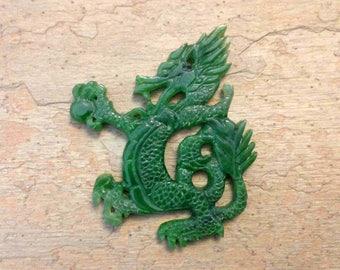 Hand Carved Dragon Pearl Nephrite Jade Pendant. B.C. Nephrite Jade.