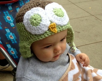 Gender neutral brown and green infants owl hat - size 9-12 months made to order