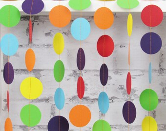Rainbow Paper Garland - Gay Pride Decor - Carnival Party Garland - Birthday Banner - Children's Party Garland
