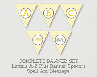 Cute Elephant Baby Shower Banner / Elephant Baby Shower / Chevron Pattern / Yellow & Grey / Letters A-Z / Printable INSTANT DOWNLOAD A205
