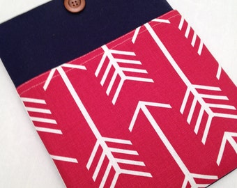 "Macbook air 13"" padded sleeve /Macbook pro 13"" retina case / Made in Maine /navy with red arrows"
