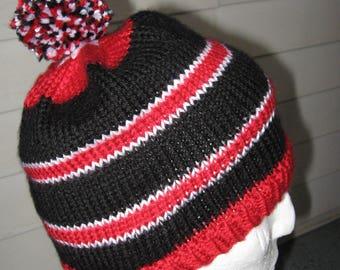Medium Hand Knit Hat Red, Black and White Stripes & Pompom - Kansas City Chiefs and Atlanta Falcons colors