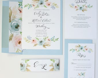 Light Blue Wedding Invitations - Pastel - Wedding Invitations - Blue & Blush Blooms Collection Deposit