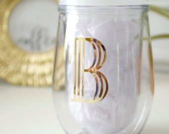 Gold Foil Initial Monogram Wine Glass Frost Lid Stemless Acrylic Wine Glass - Bev2Go -Custom Monogram Personalized Tumbler - Bridesmaid Gift