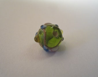 70's Vintage 10mm Lamp Worked Glass Wedding Cake Beads Green With Pink Blue And Gold Floral 10Pcs.