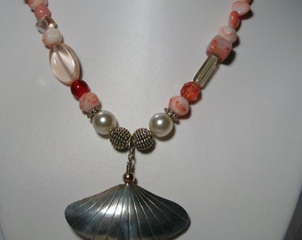Fun, Bohemian, Silver, Pink and Pearl Beaded Necklace