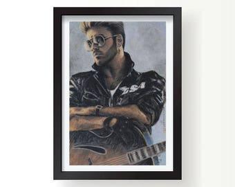 George Michael Art, George Michael painting, George Michael print, Wham, George Micheal, George Michael, George Michael poster, Wham poster