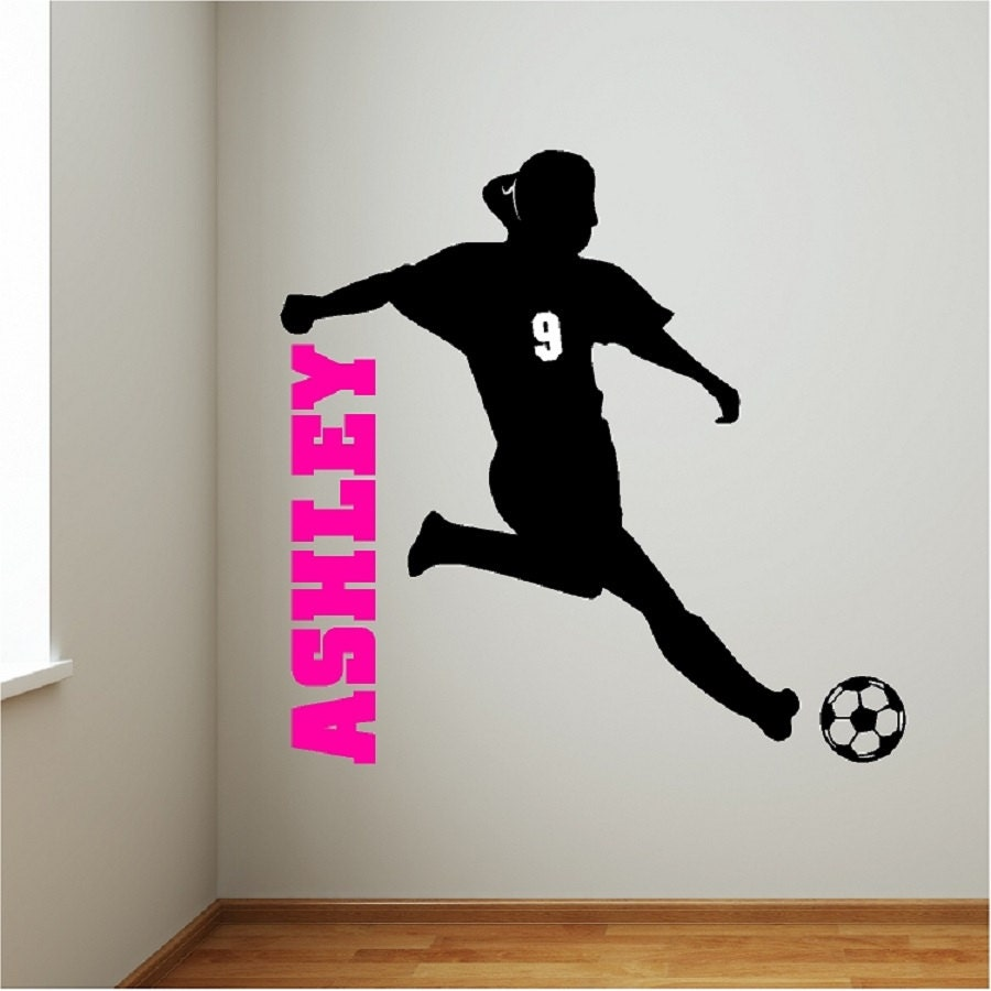 Personalized Soccer Girl Wall Decal Removable Soccer Wall