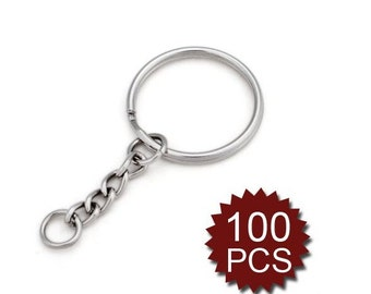 100 Pieces Split Key Ring with Chain, Key Chain Parts
