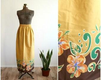 1970s Mustard Cotton Floral Maxi Skirt | Boho Hippie Long High Waisted Skirt | Tropical Hawaiian Print Midi Skirt [ xs - small ]