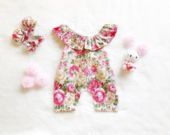 baby girl jumpsuit- baby outfit- baby girl clothing- baby playsuit- cotton- Vintage floral print baby girl jumpsuit
