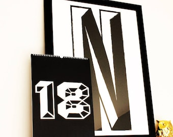 Monochrome Initial Or Number - Fine Art Giclée Print, Wall art, Typography, Bedroom Print