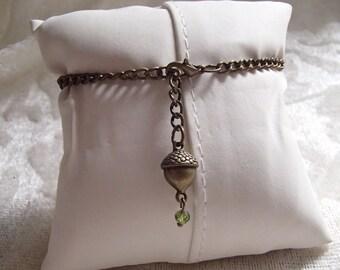 Brass / Bronze Acorn and Green Crystal Adjustable Chain Bracelet