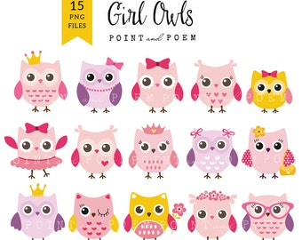 Owl Clip Art, Girl Baby Shower Digital Owl clipart, Cute Owls, Pink Owl, Baby owl, pink, purple - Commercial Use