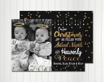 Christmas Card, Photo Card, Silent Night Card, Christmas Chalkboard, Christmas,  Invitation, Card, Photo, Gold, Heavenly Peace, New Baby