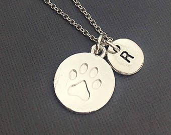 Custom Silver Paw Print Initial Necklace Jewelry Charm Animal Lover's Gift Personalized Paw Print Necklace Vet Tech Gift Pet Sitter Paw Gift