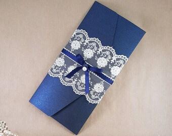 Navy Midnight blue Pocket wedding invitation