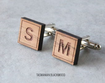 4 x Personalized Initial Cufflinks | Wood Cufflinks | 5th anniversary gift | Groomsmen Gift | Gifts for Him | Graduation Gift | Groom Gift