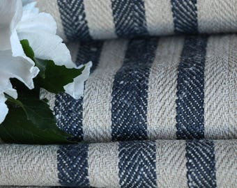 R 758: antique, hemp, french, 천, BLACKBERRY BLUE, upholstery 16.94 yards handloomed STAIRUNNER  benchcushion Beachhouse look