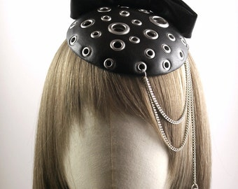 Black PU Leather Fascinator with Eyelets and Chains