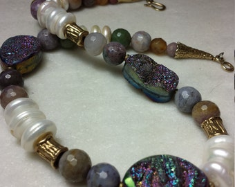 Pearl and Jasper Necklace with Druzy Oval Beads Vermeil Closure