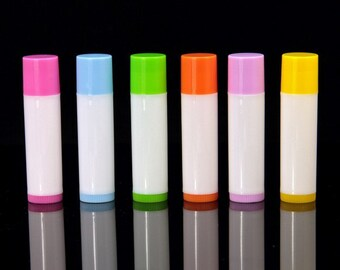 Empty Lip Balm Tubes Containers  White Tube with Colorful Cap