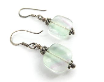 Vintage Flourite Earrings, Sterling Silver, Hooks, Green Purple, Marked 925, J56