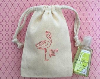 10 Flamingo Favor Bags - Flamingo Party - Flamingo Wedding Favors - Muslin Favor Bags