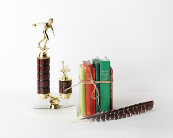 Vintage Bowling Trophy, Gold Metal and Wood Trophy
