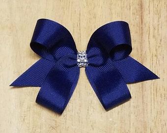 Small Navy Blue Hair Bows