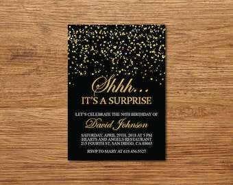 Shhh It's a Surprise Birthday Invitation/Printable Gold & Black Birthday Invitation Template/e-card/20th/30th/40th/50th/60th/70th/80th/90th